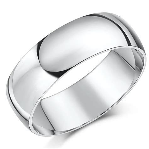 18ct White Gold ''D'' Shaped Wedding Ring   D Shape at