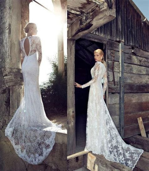 Long Sleeve Lace Wedding Gown (fitted, long train) Good