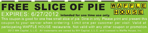 pie waffle Waffle House Coupon: Free Slice of Pie