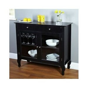 Black Buffet Cabinet Solid Wood Storage Dining Room ...