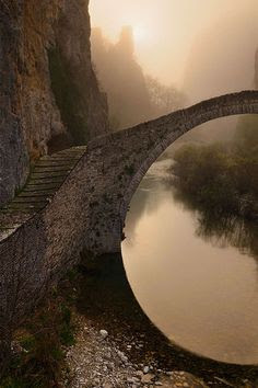 """justeline says: The single arched stone bridge of Kokkorou named after its sponsor dating back to the 1750's...Epirus, Greece"""