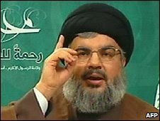 Hassan Nasrallah, pictured on 13 March 2009