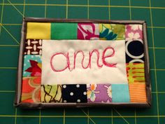 Super cute idea for a name tag! I really love this.  reblogged from carolinaanne:    I made this name tag for the Portland Modern Quilt Guild meeting tomorrow! I used scraps of fabric and free-motion quilted my name using my BSR.