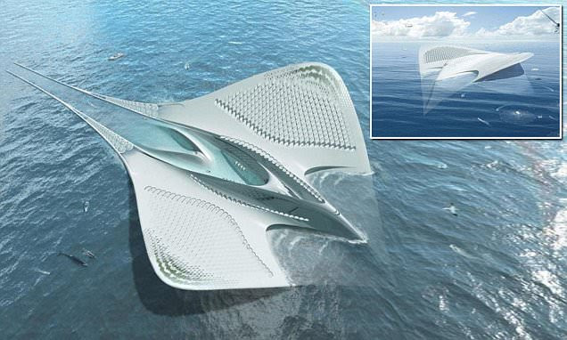 Floating City of Meriens shaped like a manta ray could be home to 7,000 people