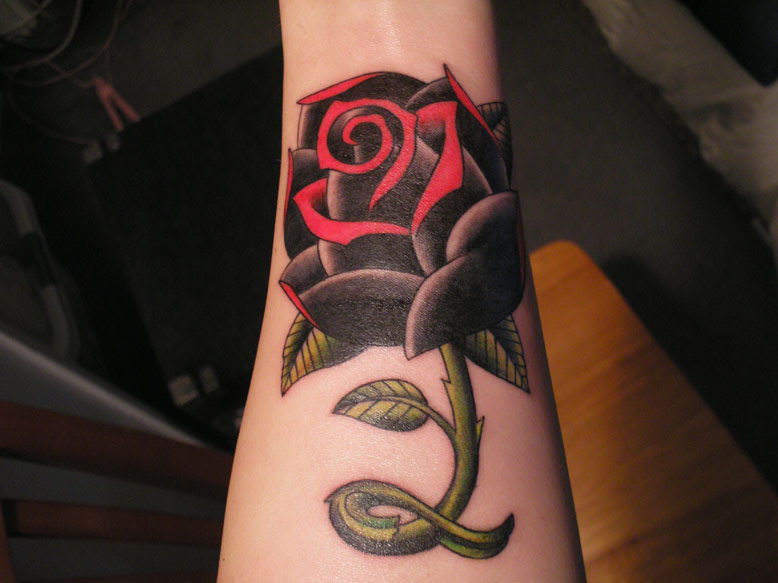 Black And Red Rose Tattoo On Right Arm