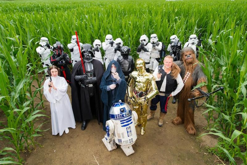 Star Wars characters in the maze