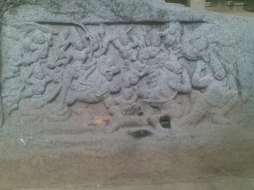 Minor Mahishasuramardini Panel, Athiranachanda Mandapam, Mamallapuram