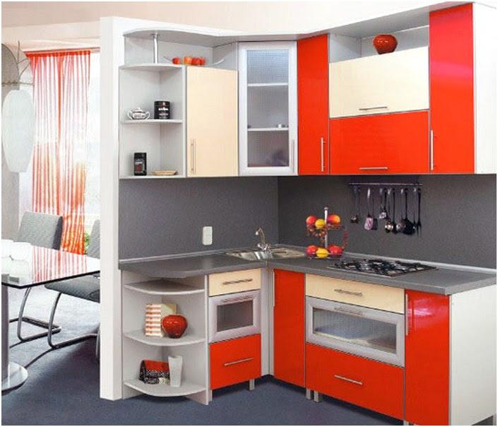 Terbuka Desain Dapur Minimalis Mungil Sederhana Type 2x2 Warna Cat Merah Terbaru