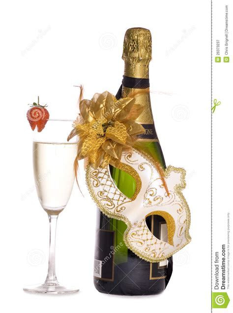 Champagne And Masquerade Mask Royalty Free Stock
