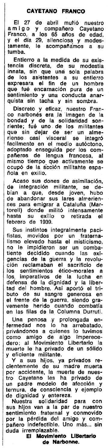 """Necrològica de Cayetano Franco Ortiz apareguda en el periòdic tolosà """"Espoir"""" del 13 d'octubre de 1974"""