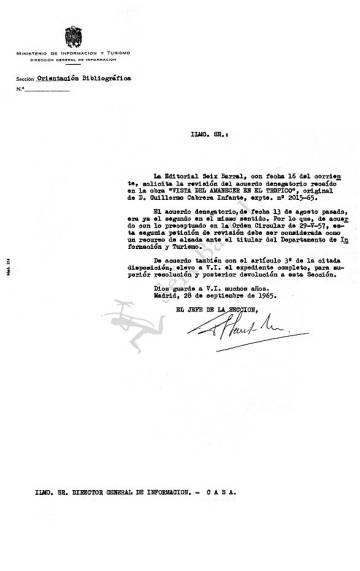 Uno de los documentos de la censura incluidos en la nueva edición del libro.