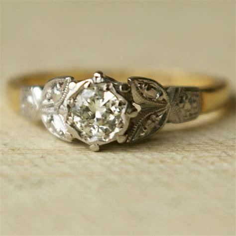 Vintage .20ct Diamond Wedding Ring, Vintage 9k Gold