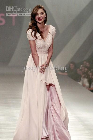 Evening dresses on the runway