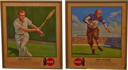 Lot Of 2 Coca Cola Sports Cardboard Signs In Frames