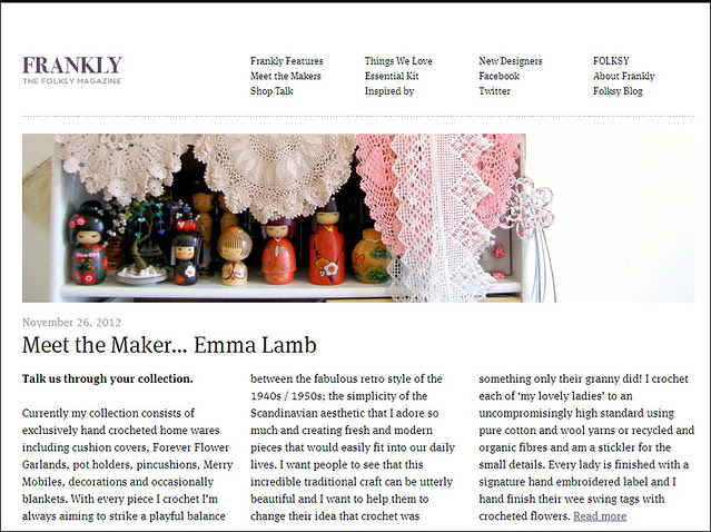 Frankly, the Folksy magazine : Meet the Maker interview