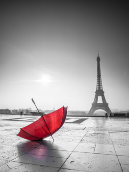 Red Umbrella With Eiffel Tower Black And White Blinds Creatively
