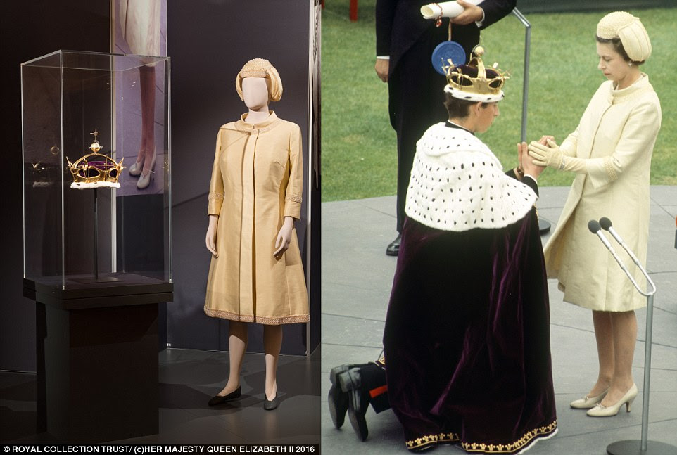 Coat, hat and tunic worn by The Queen for the Investiture of Prince Charles as Prince of Wales in 1969, alongside the Prince of Wales's Coronet