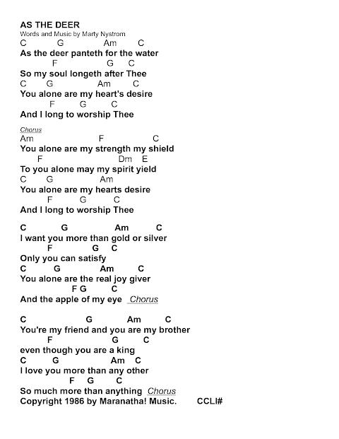 As The Deer Panteth Lyrics And Chords