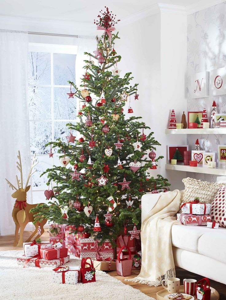 traditional Scandinavian style, love it, pretty perfect tree with lots of white, pops of red and rustic touches xx  Scandi-style Christmas