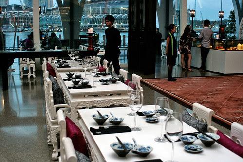 The dessert bar has elegant white seating