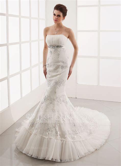 Trumpet/Mermaid Sweetheart Chapel Train Tulle Lace Wedding