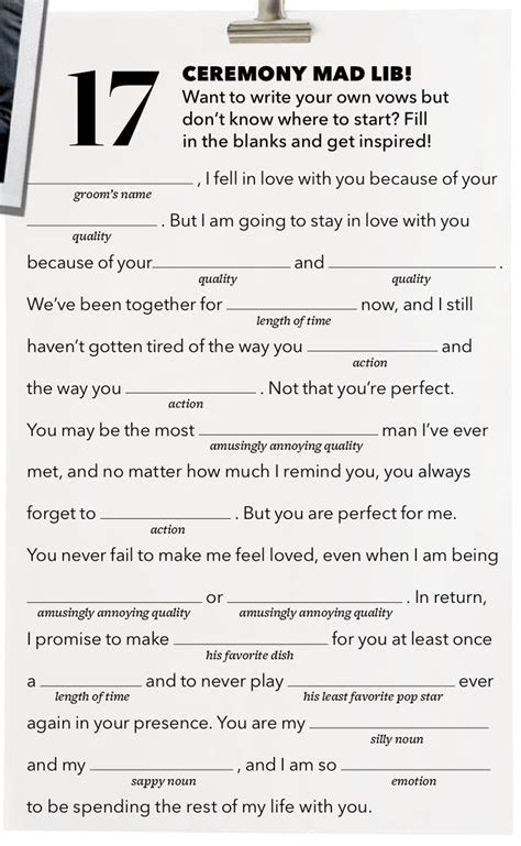Wedding vow Mad Lib from Brides Magazine   weddingLOVE