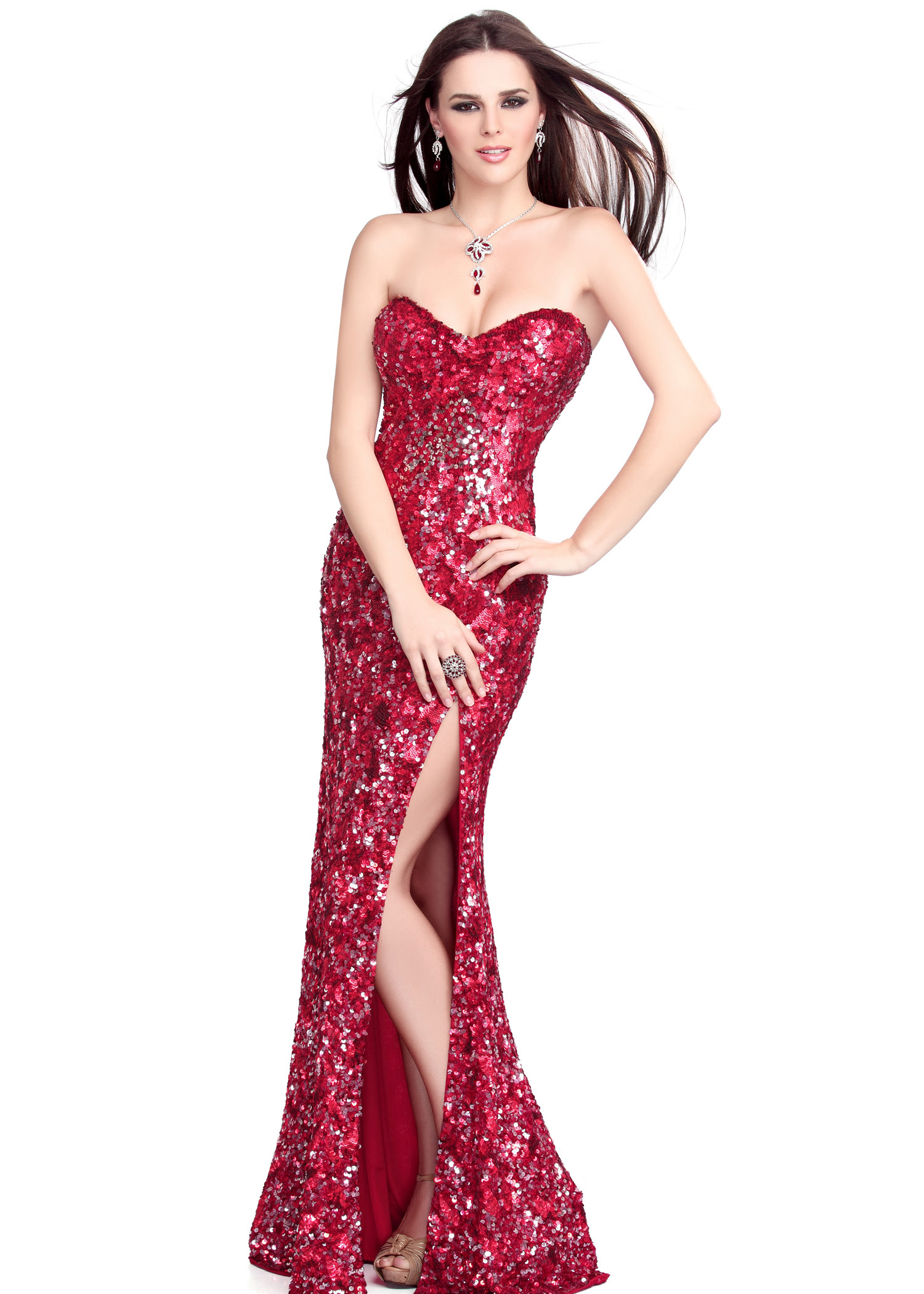 Red sequin evening dress