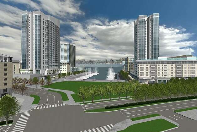 A rendering of a redevelopment of 65 acres of waterfront property on the Oakland Estuary of San Francisco Bay, near Jack London Square. The project, called Brooklyn Basin, will consist of 3,100 residential units, approximately 200,000 square feet of retail and commercial space, and a marina with up to 200 boat slips. More than 30 acres have been set aside for waterfront parks and open space. Photo: -, Signature Development Group