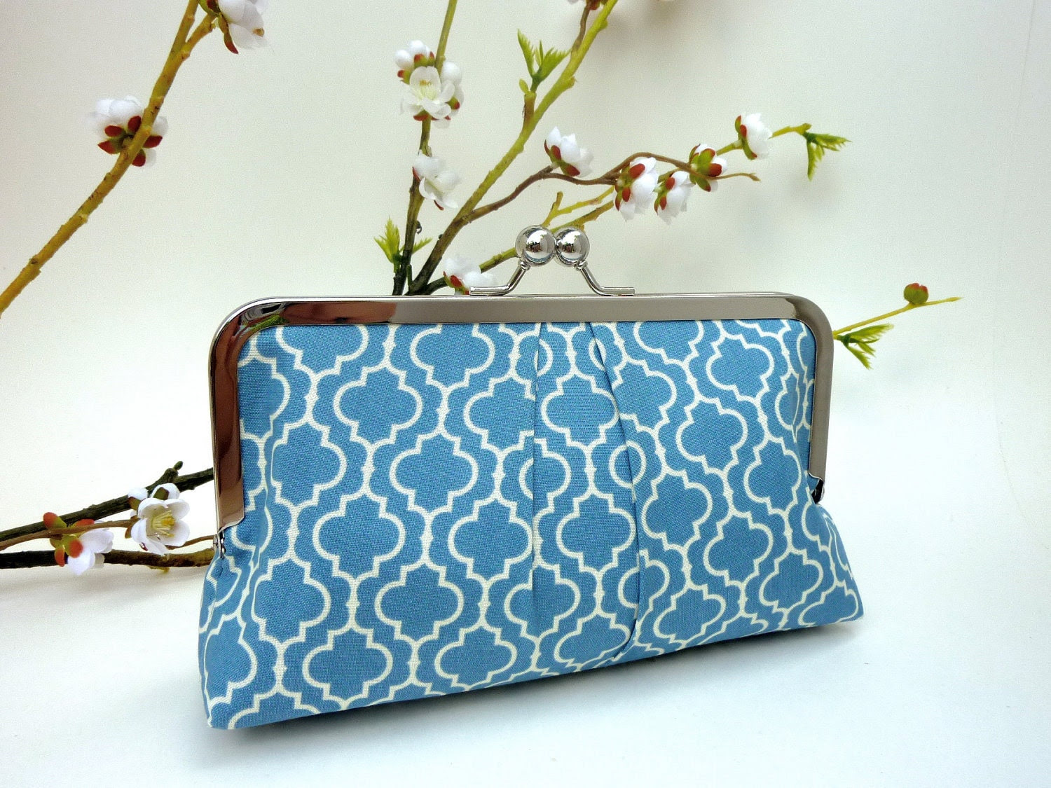 NEW - Tiles in Dusty Blue KissLock Clutch