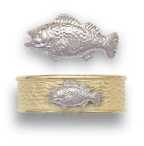 Large Mouth Bass Wedding Ring