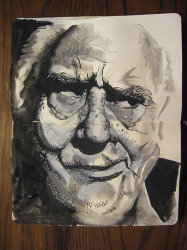 Gouache wrinkled face