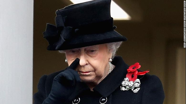 Queen Elizabeth II during the annual Remembrance Sunday memorial.