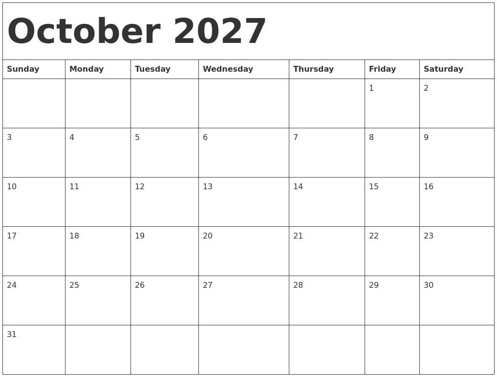 october 2027 calendar template full weekday