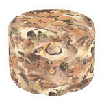 Personalize: Abstract Nature Photo Autumn Leaves Round Pouf