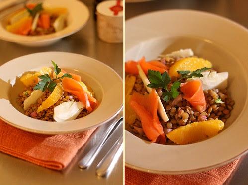 Salade de lentilles, fenouil, orange et saumon fumé