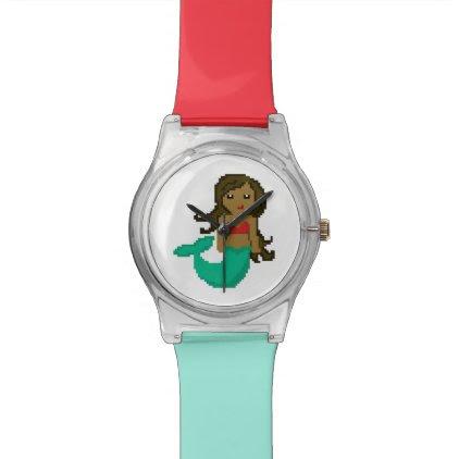 8Bit Pixel Geek Ocean Mermaid Wristwatch