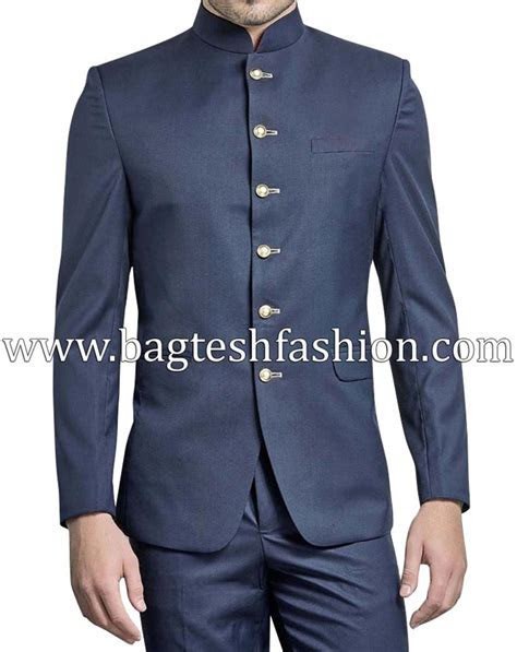 Mandarin Collar Navy Blue Jodhpuri Suit,Navy