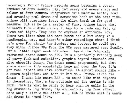 Prince drums typecast - Rino Breebaart