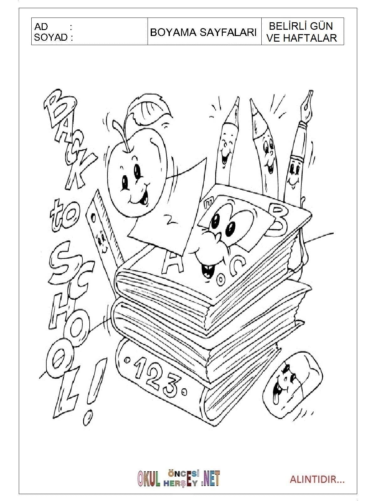 Ilköğretim Haftası Boyama Sayfaları
