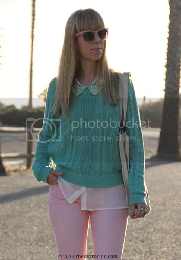 Jason Wu for Target cat tote bag, Uniqlo pink jeans, H&M pearl collar, mint green sweater, pastel spring 2012 trend, Los Angeles street fashion