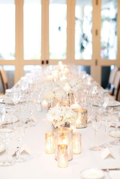 Champagne White Silver Wedding Reception Tablescape