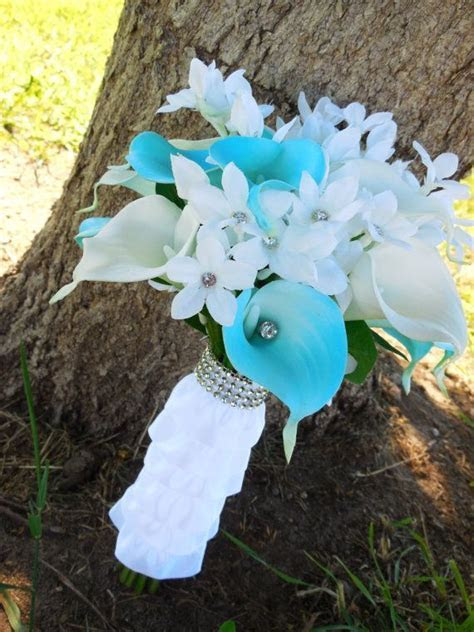 Sky blue bouquet with Real Touch calla lilies, ruffle
