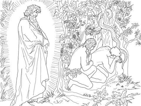 Coloriage Adam Et ève Fuient La Présence De Dieu Coloriages à