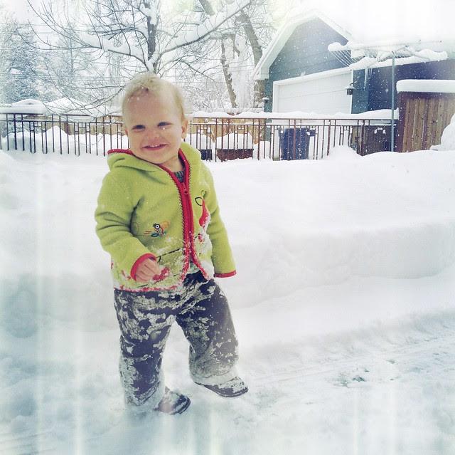 A very snowy boy