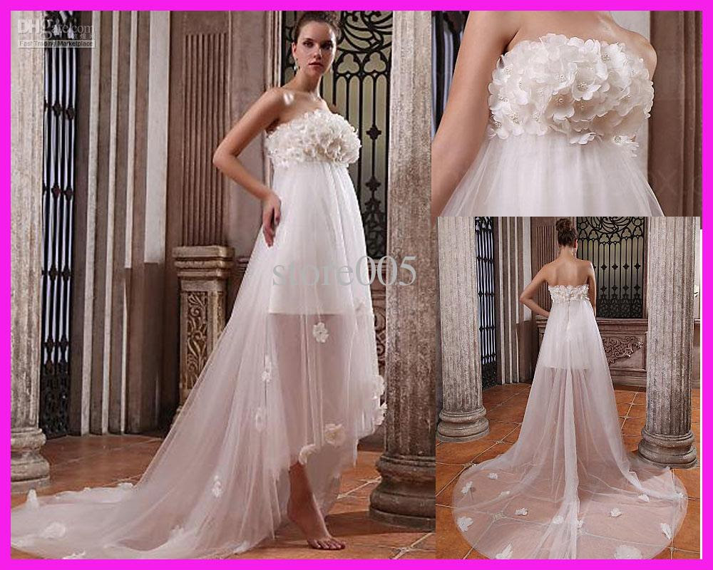 empire flowers beach maternity wedding dresses gowns