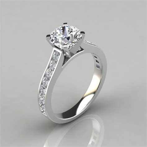 Cathedral Style Cushion Cut Channel Set Engagement Ring