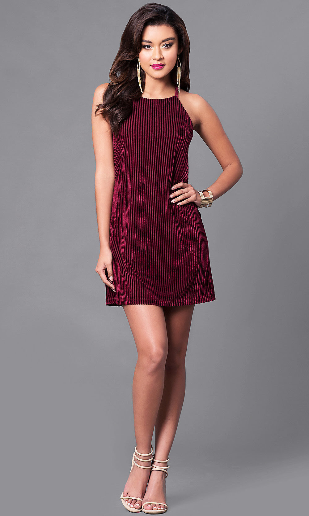 wine red velvet party dress with straps  promgirl