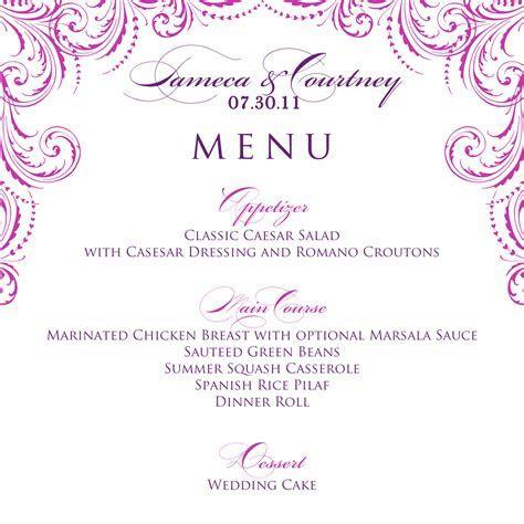 Signatures by Sarah: Wedding Menu and Program for Tameca