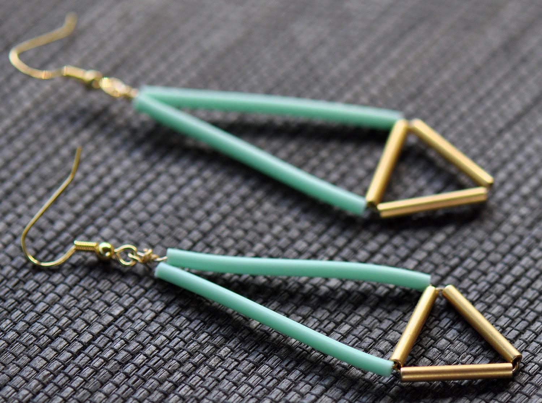 Neon Geometric Earrings - Mint and Gold Tube