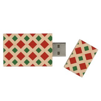 Red and Green Diamonds on White Wood USB 3.0 Flash Drive